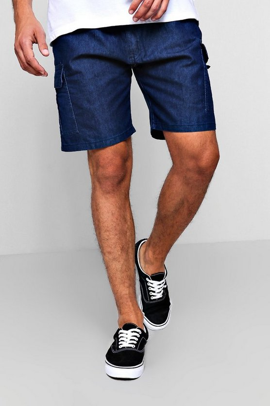 Mens Blue Slim Fit Denim Cargo Short