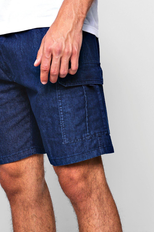 Short de camuflaje denim en fit azul slim nUSnTfxr