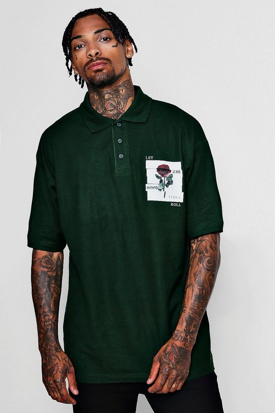 Mens Bottle green Rose Print Pique Polo