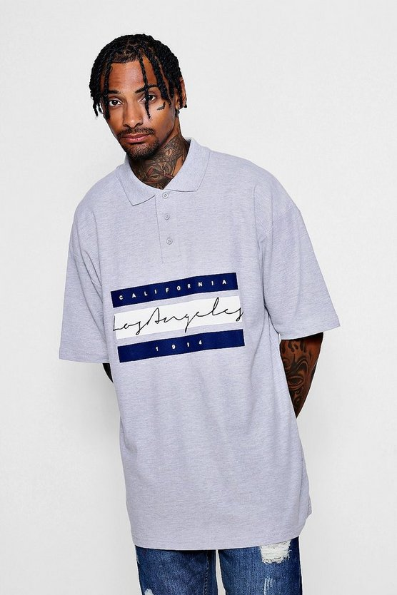 Oversized Los Angeles Print Polo