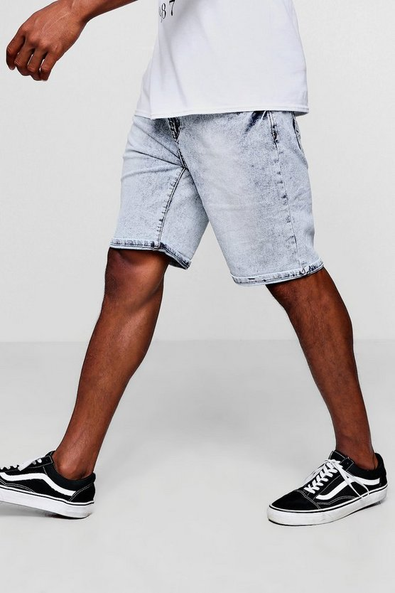 Stretch Slim Fit Washed Denim Shorts