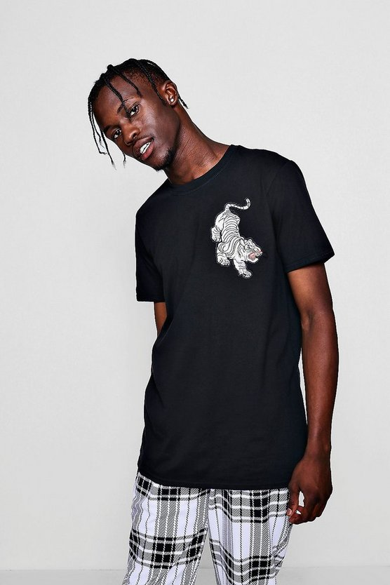 Mens Black Tiger Embroidery Tee