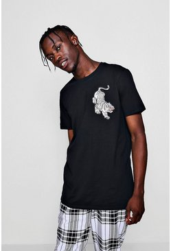 Tiger Embroidery Tee, Black, МУЖСКОЕ