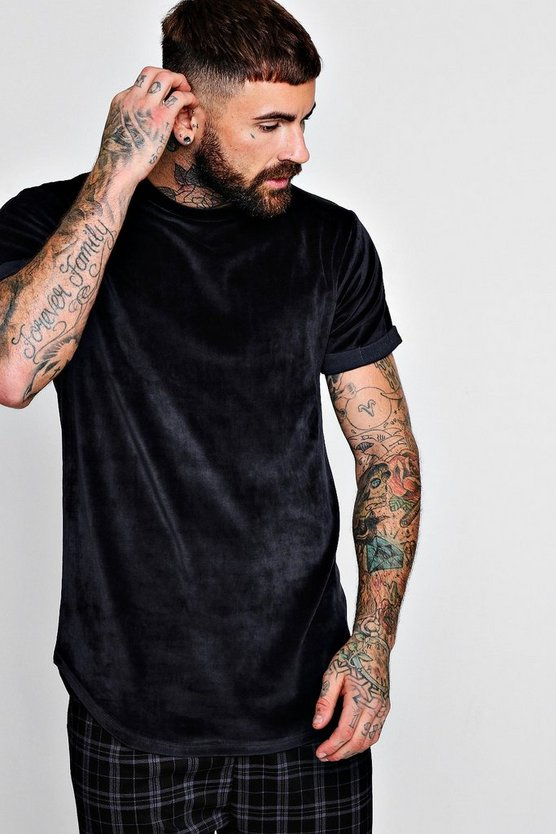Rolled Sleeve Curved Hem Velour T-Shirt