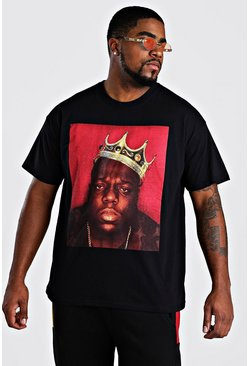 Big and Tall Biggie Crown T-Shirt, Schwarz, Herren