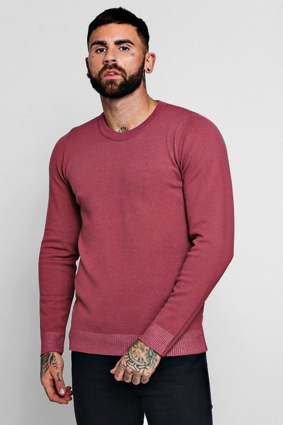 Mens Pink Fine Gage Regular Crew Neck Jumper