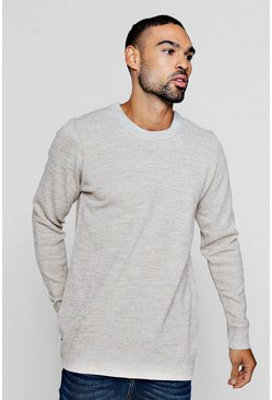 Mens Stone Marl Yarn Knitted Crew Neck Jumper