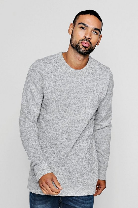 Marl Yarn Knitted Crew Neck Jumper