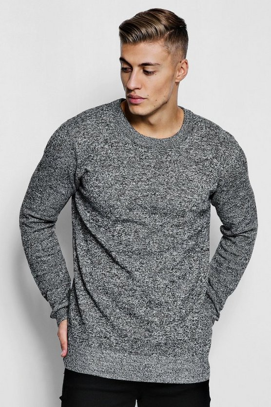 Mens Black Marl Yarn Knitted Crew Neck Sweater