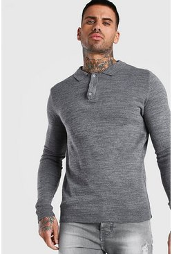 Regular Long Sleeve Knitted Polo, Grey, Uomo