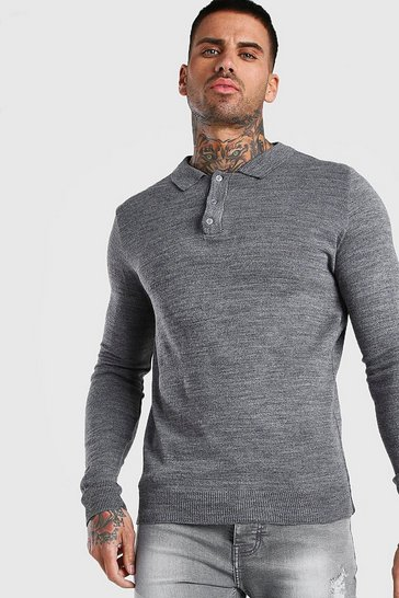Mens Grey Regular Long Sleeve Knitted Polo
