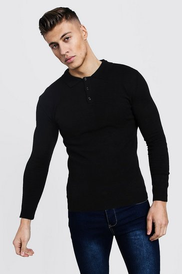 Black Regular Long Sleeve Knitted Polo