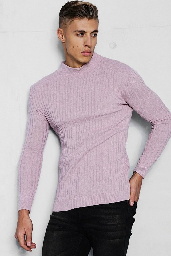 Mens Dusky pink Muscle Fit Ribbed Turtle Neck Jumper
