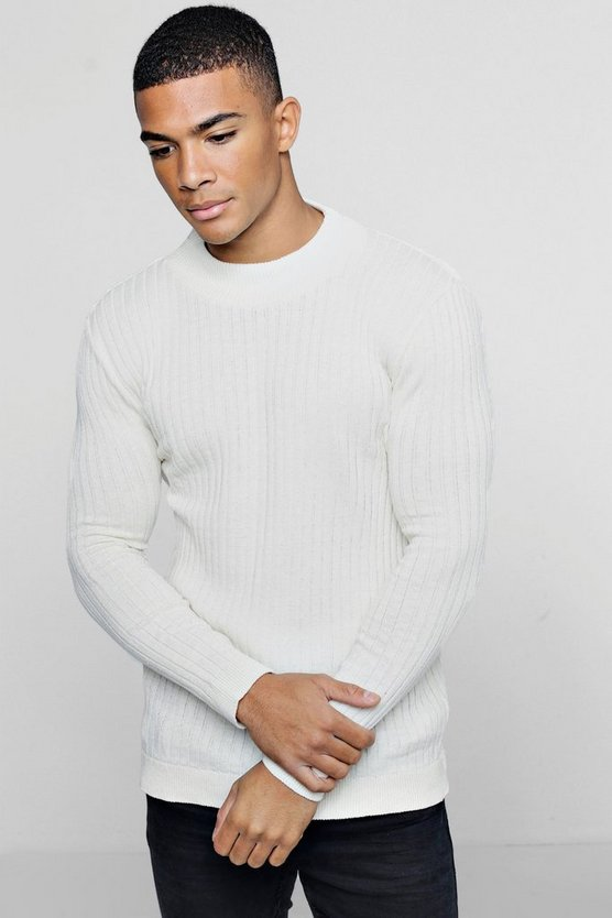 Mens Ecru Muscle Fit Ribbed Turtle Neck Sweater