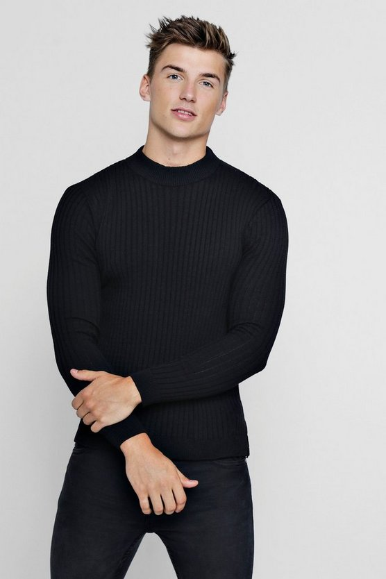 Mens Black Muscle Fit Ribbed Turtle Neck Jumper