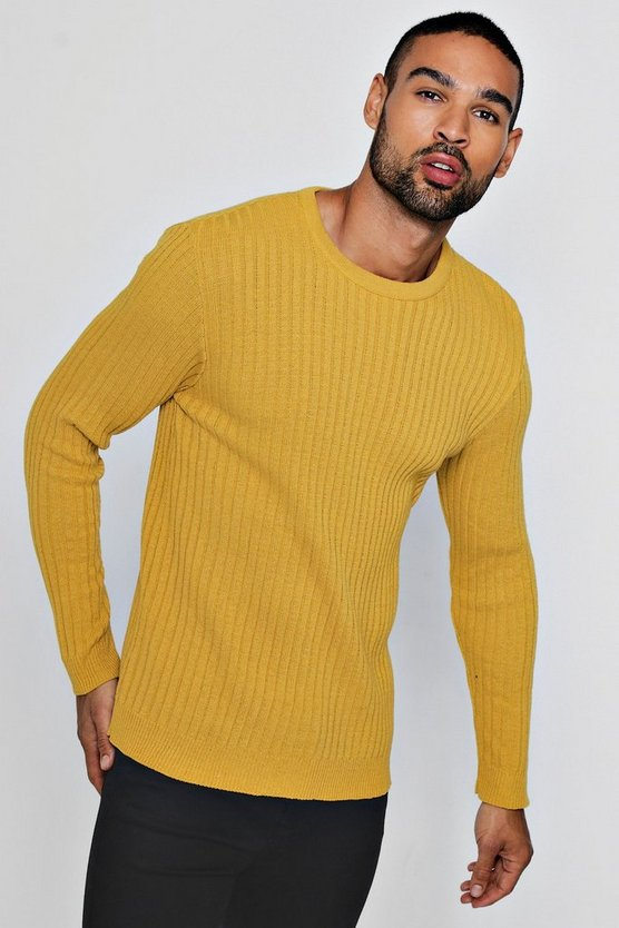 Muscle Fit Ribbed Crew Neck Jumper