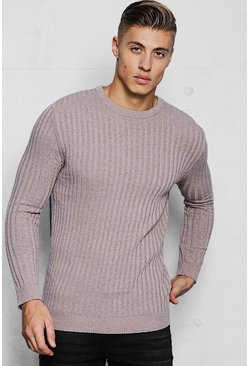 Muscle Fit Long Sleeve Ribbed Crew Neck Jumper, Taupe, МУЖСКОЕ
