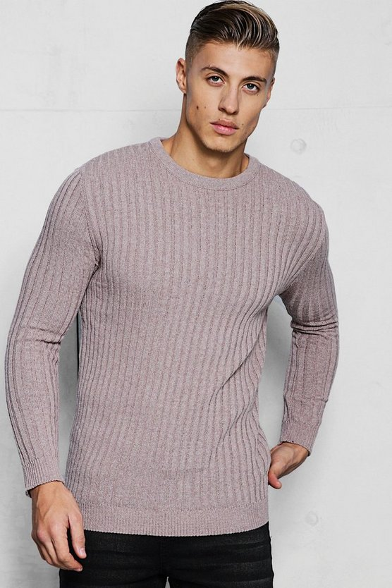 Mens Taupe Muscle Fit Long Sleeve Ribbed Crew Neck Jumper