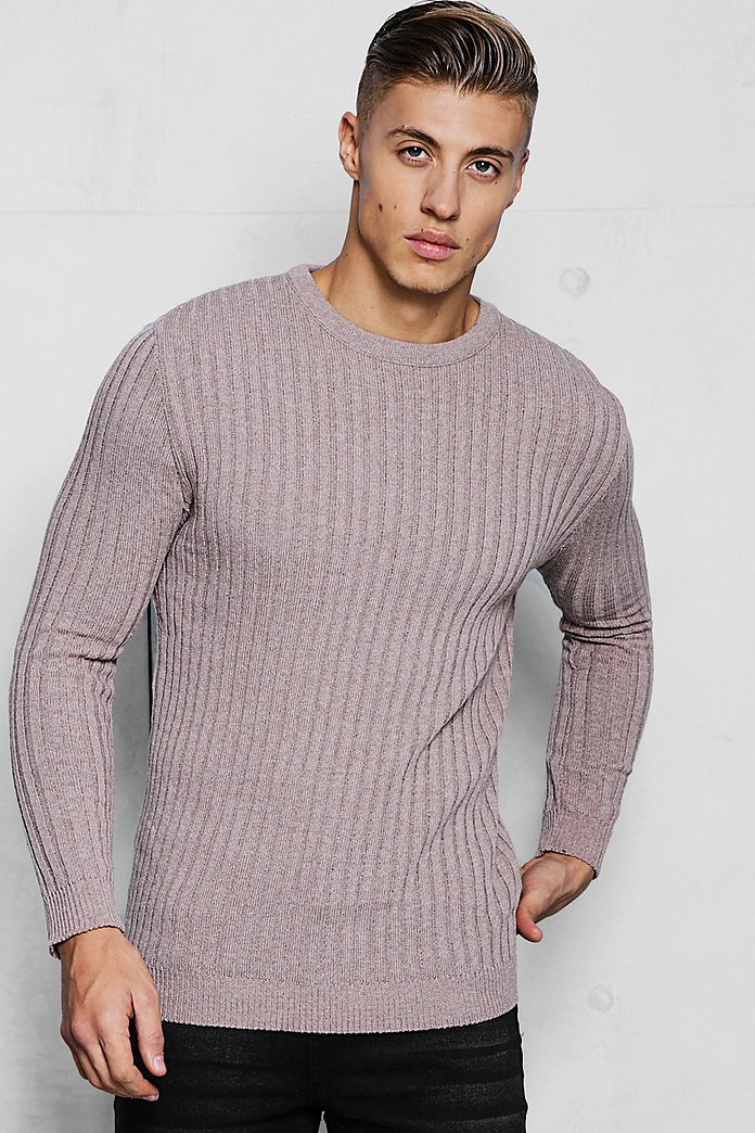 Muscle Fit Long Sleeve Ribbed Crew Neck Jumper boohooMAN
