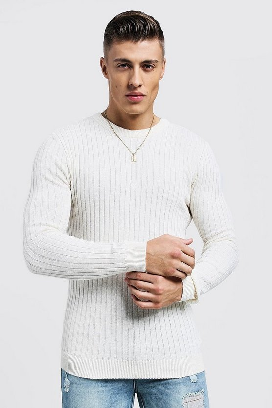 Muscle Fit Ribbed Crew Neck Sweater