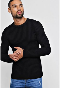 Mens Black Muscle Fit Ribbed Crew Neck Sweater