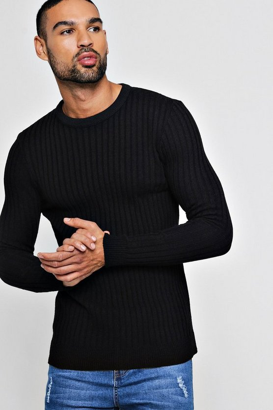 Mens Black Muscle Fit Ribbed Crew Neck Jumper