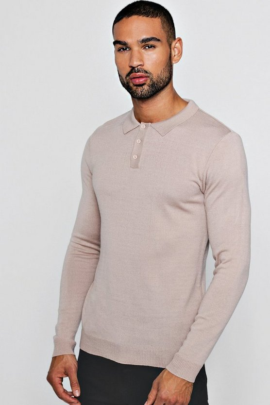 Muscle Fit Long Sleeved Knitted Polo