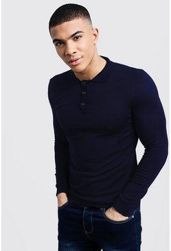 Mens Navy Muscle Fit Long Sleeved Knitted Polo