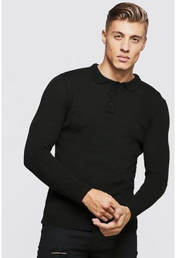 Muscle Fit Long Sleeved Knitted Polo, Black, Uomo