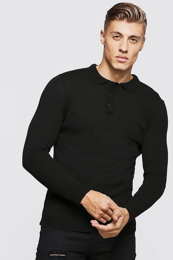 Mens Black Muscle Fit Long Sleeved Knitted Polo