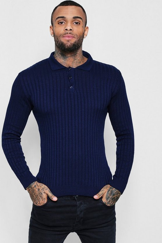 Muscle Fit Ribbed Long Sleeve Polo