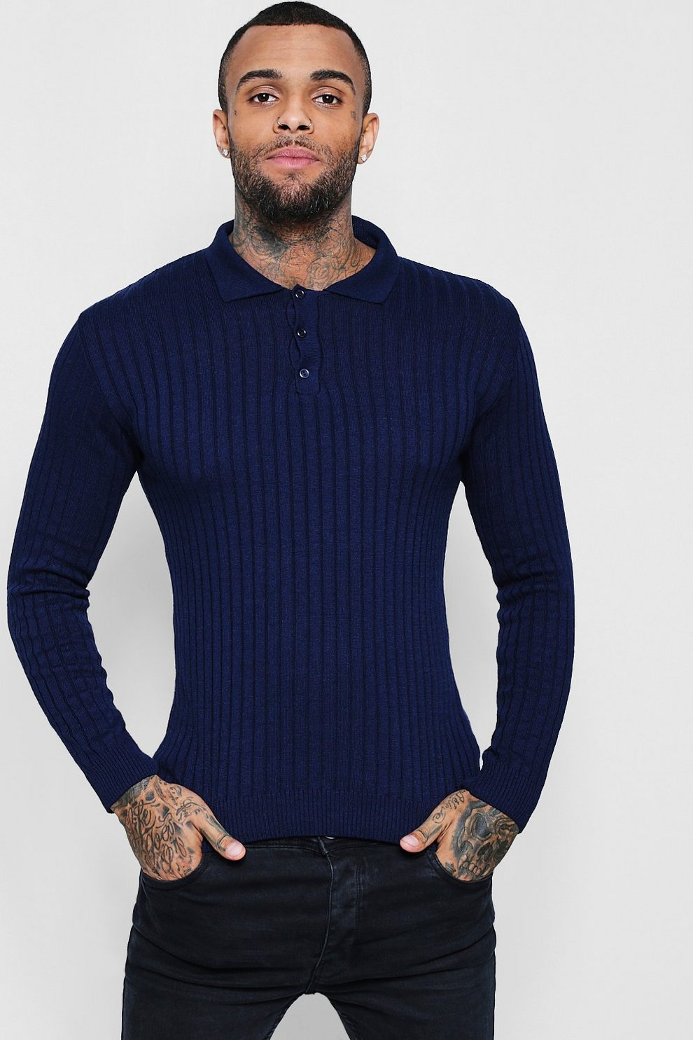 01c8f2d7 Muscle Fit Ribbed Long Sleeve Polo | Boohoo