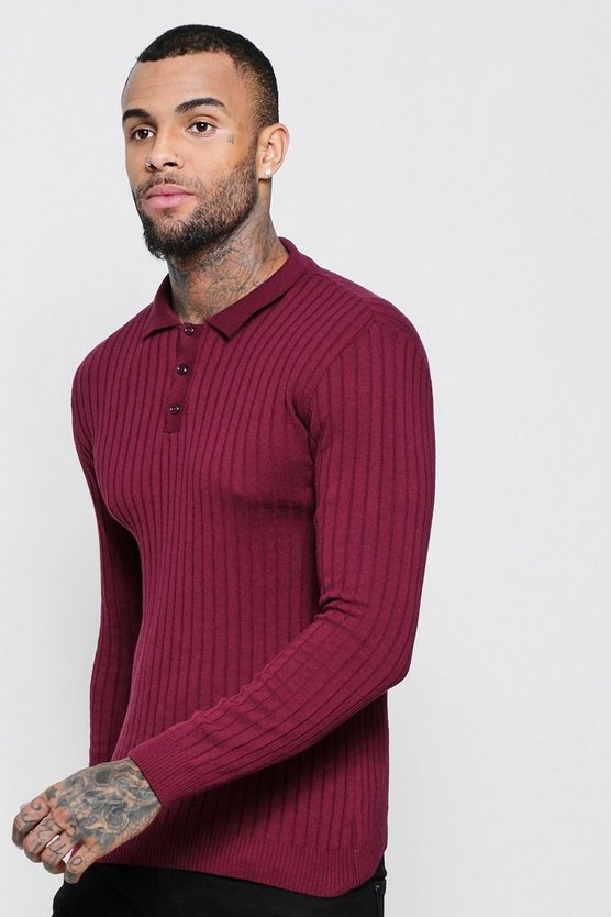 Wine Muscle Fit Ribbed Long Sleeve Polo