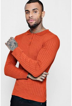 Mens Rust Muscle Fit Ribbed Long Sleeve Polo