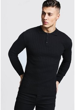 Muscle Fit Ribbed Long Sleeve Polo, Black, МУЖСКОЕ