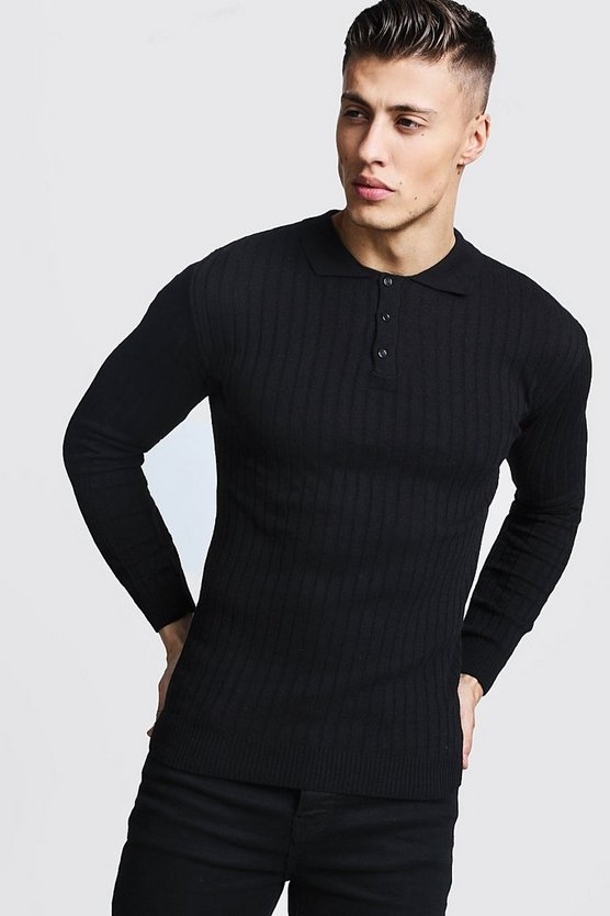 Muscle Fit Ribbed Long Sleeve Polo, Black, Uomo
