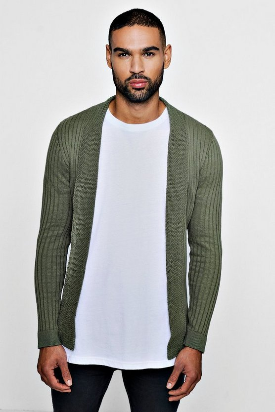 Muscle Fit Ribbed Edge To Edge Cardigan