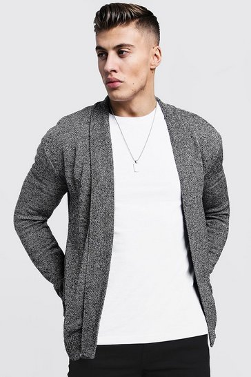 Mens Black Twisted Yarn Knitted Edge To Edge Cardigan