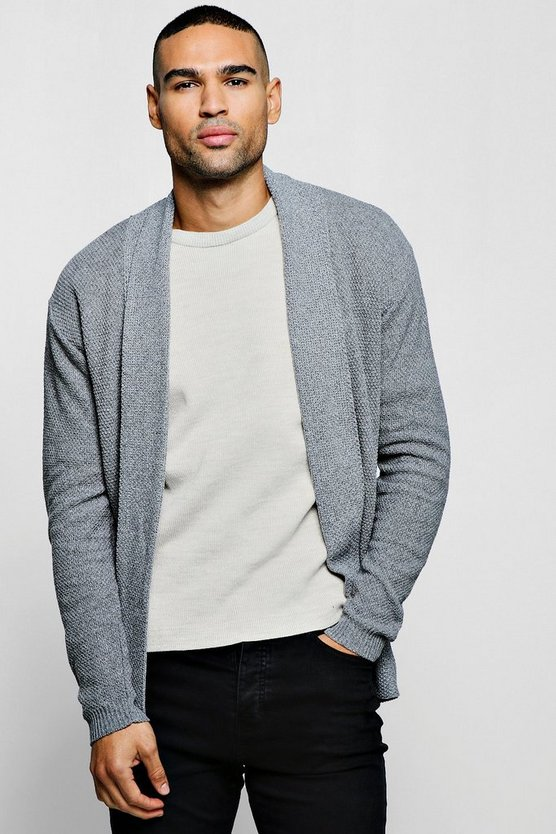 Mens Grey Textured Edge To Edge Cardigan