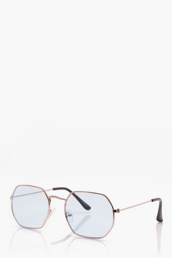 Metal Frame Hexagon Sunglasses
