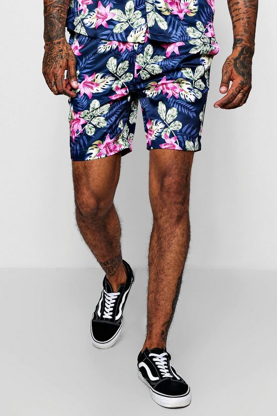 Floral Print Drawstring Satin Short