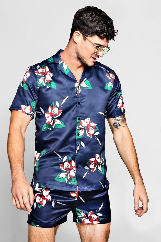 Floral Print Revere Short Sleeve Satin Shirt