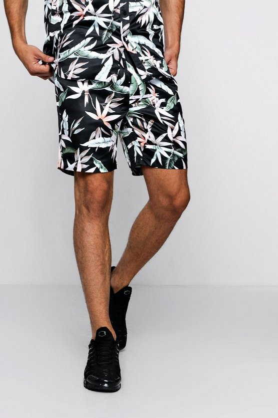 Mens Black Leaf Print Drawstring Satin Short