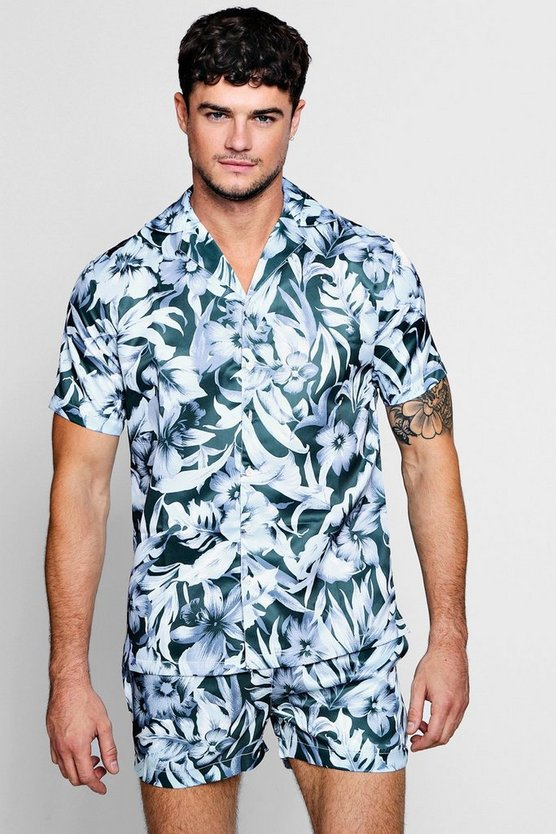Mens Navy Botanical Revere Short Sleeve Satin Shirt