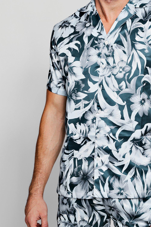 y marino de solapa cuello Azul mangas estampado cortas de botánico de Conjunto camisa con nXgOqgT