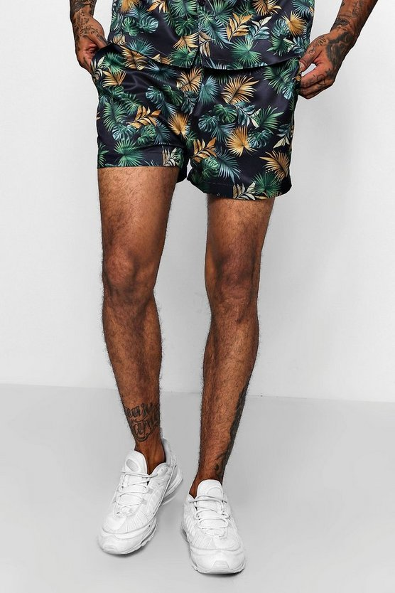 Leaf Print Short Length Satin Short