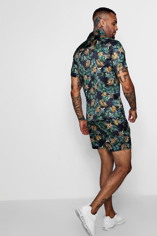negro hojas satén con Conjunto shorts de estampado en de wgtxUqx08
