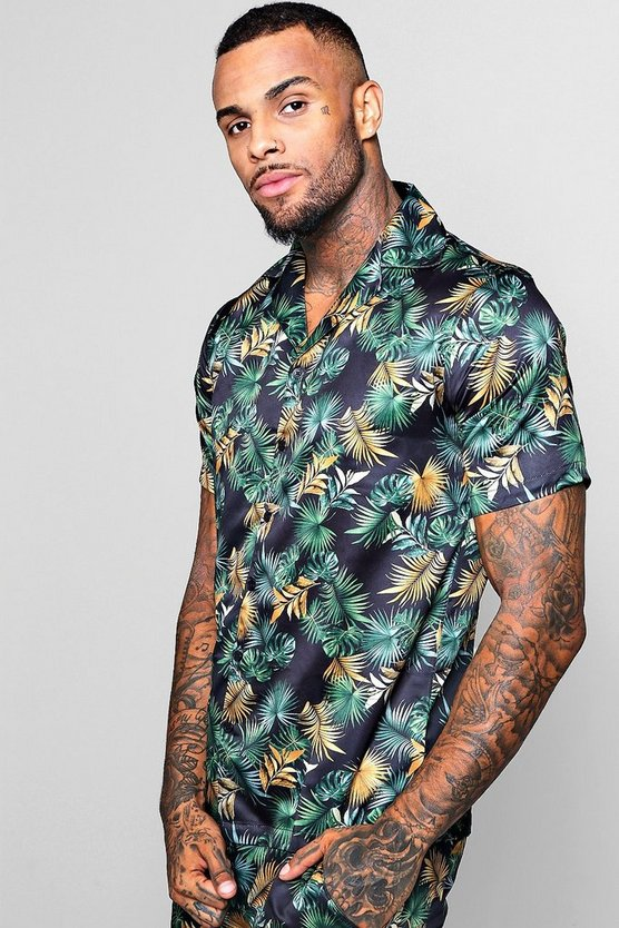 Leaf Print Short Sleeve Revere Satin Shirt