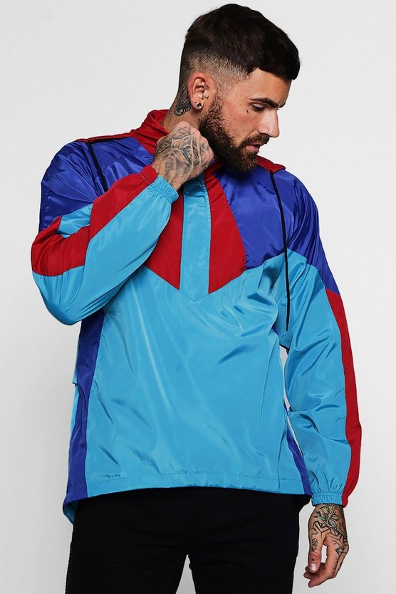 Mens Blue Colour Block Half Zip Cagoule