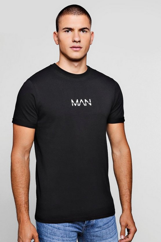 Mens Black Original MAN T-Shirt with Rolled Sleeves